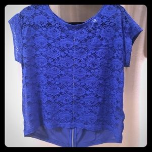 H&M cerulean blue lace front zippered back top